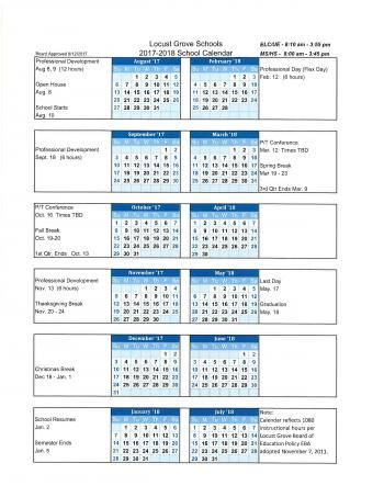 board approved calendar