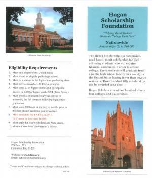 Hagan Scholarship Deadline Nov 15, 2017