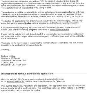 Oklahoma Junior Chamber International (JCI) Senate Club scholarship Deadline Jan 5, 2018