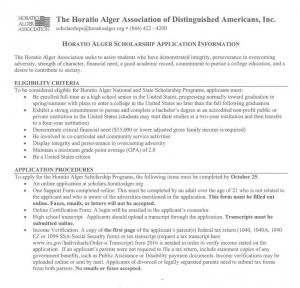 Horatio Alger Scholarship Deadline Oct 25, 2017