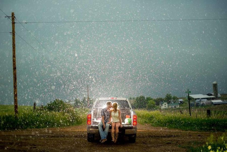 rain engagement session