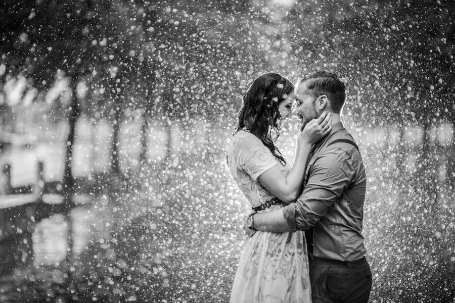 rainy black and white photo