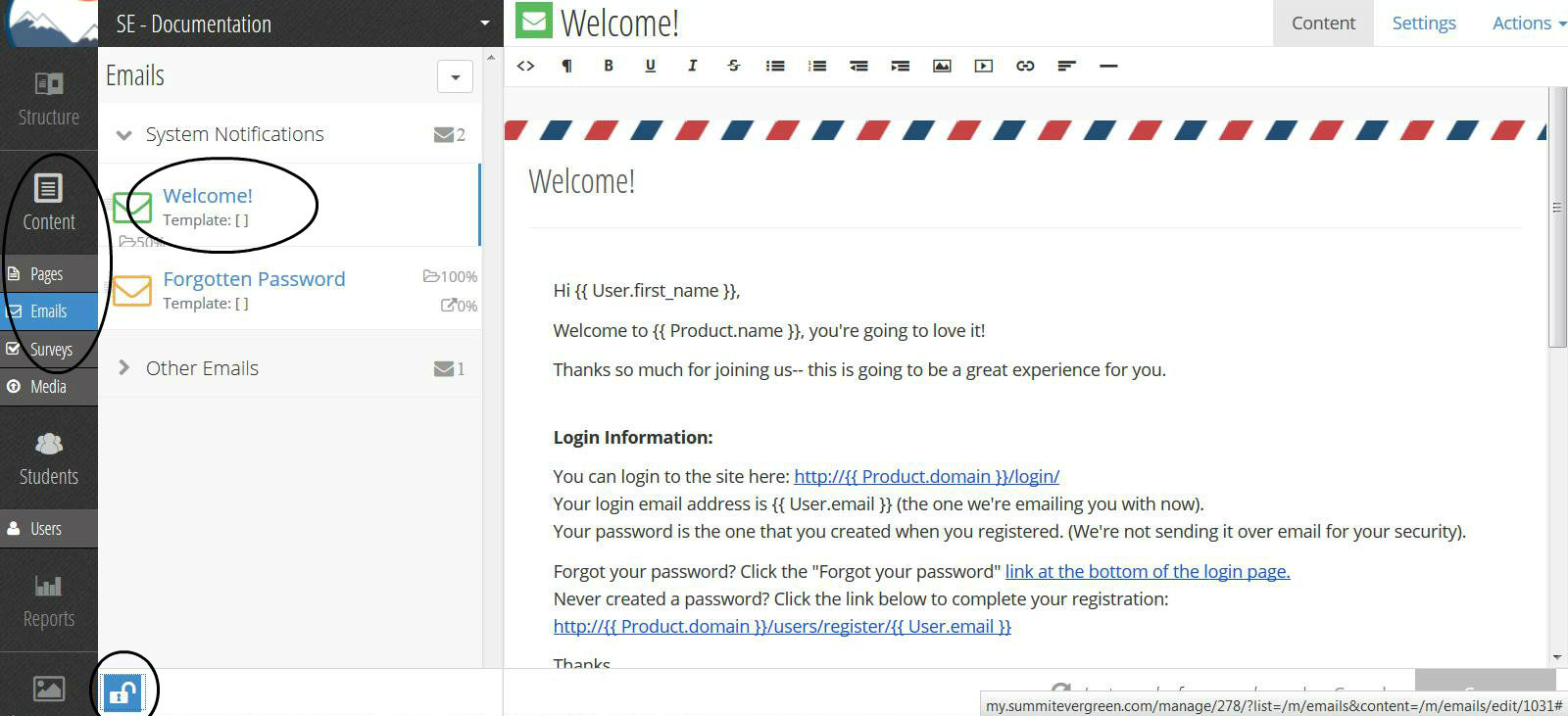 Creating Welcome Emails Summit Evergreen Documentation