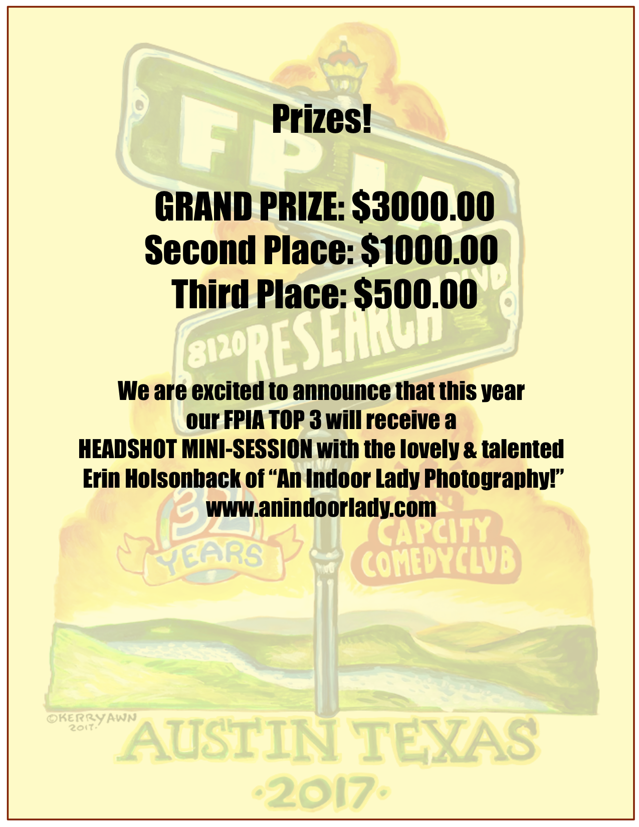 Banner Image with Prize information. Prize information also listed above in text.