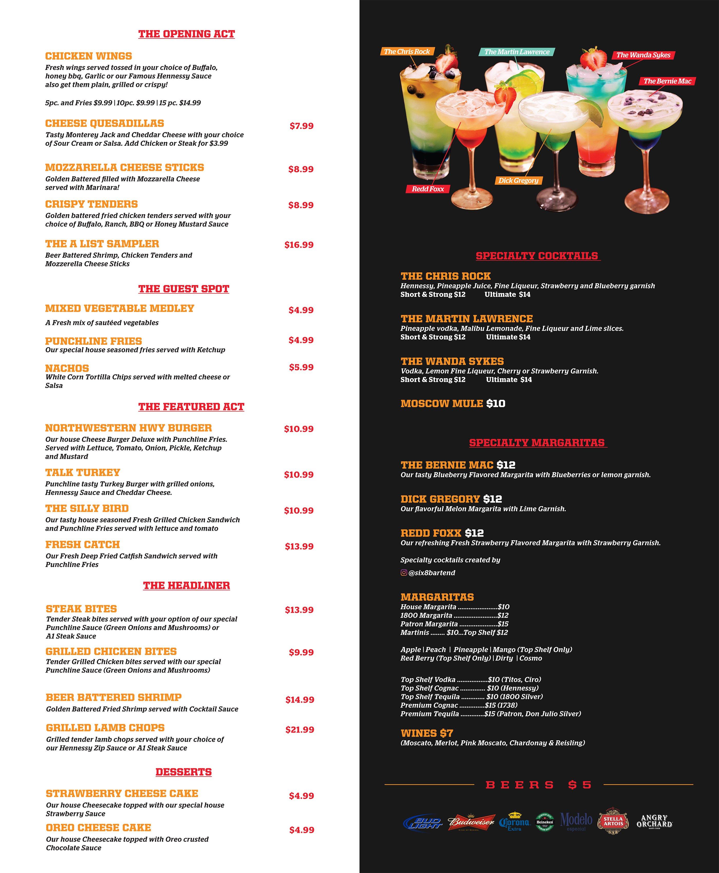 menu drink punchline comedy tickets