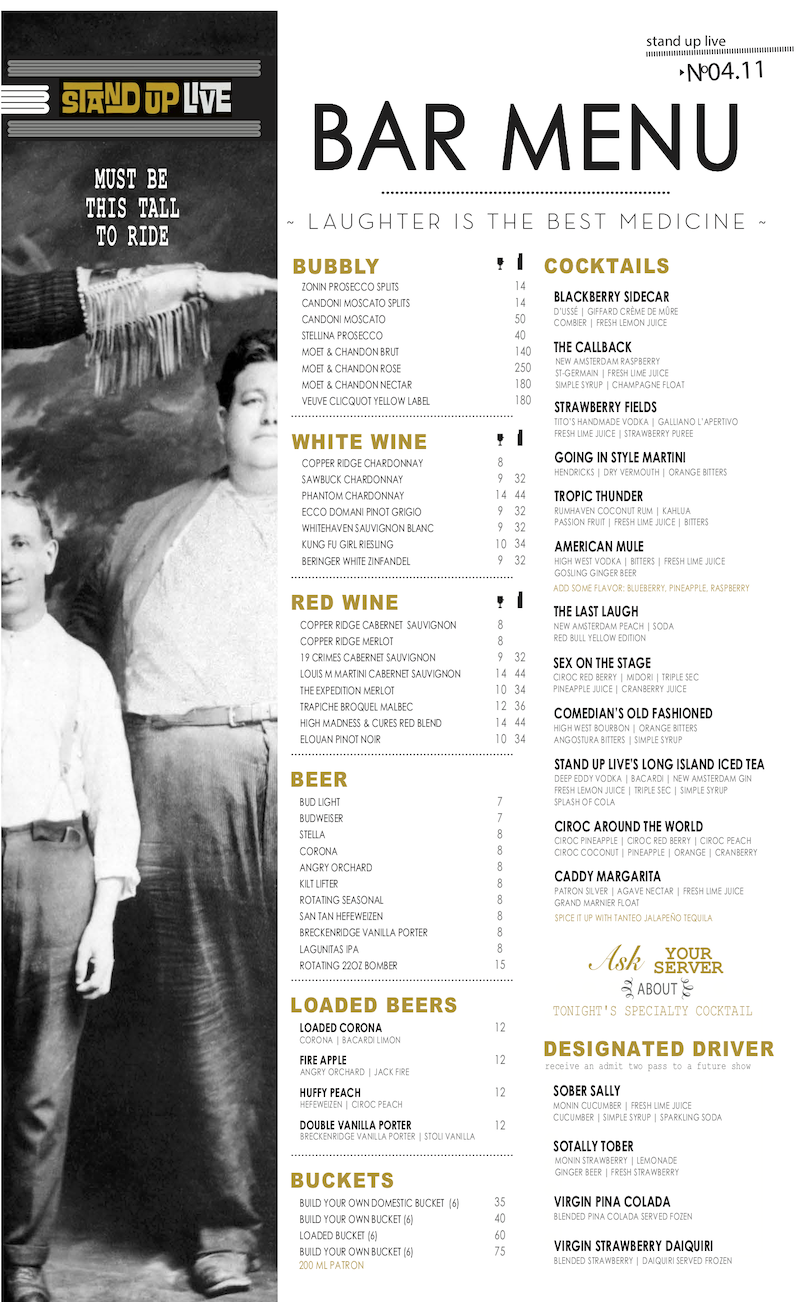StandUP Live Drink Menu. Click image for PDF version.