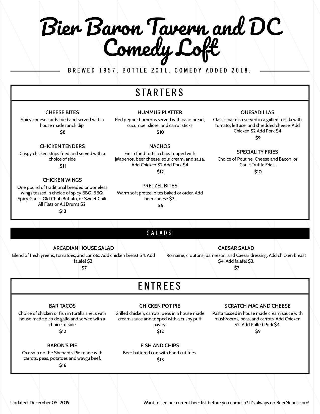 Comedy Loft Menu. Image links to full menu readable PDF