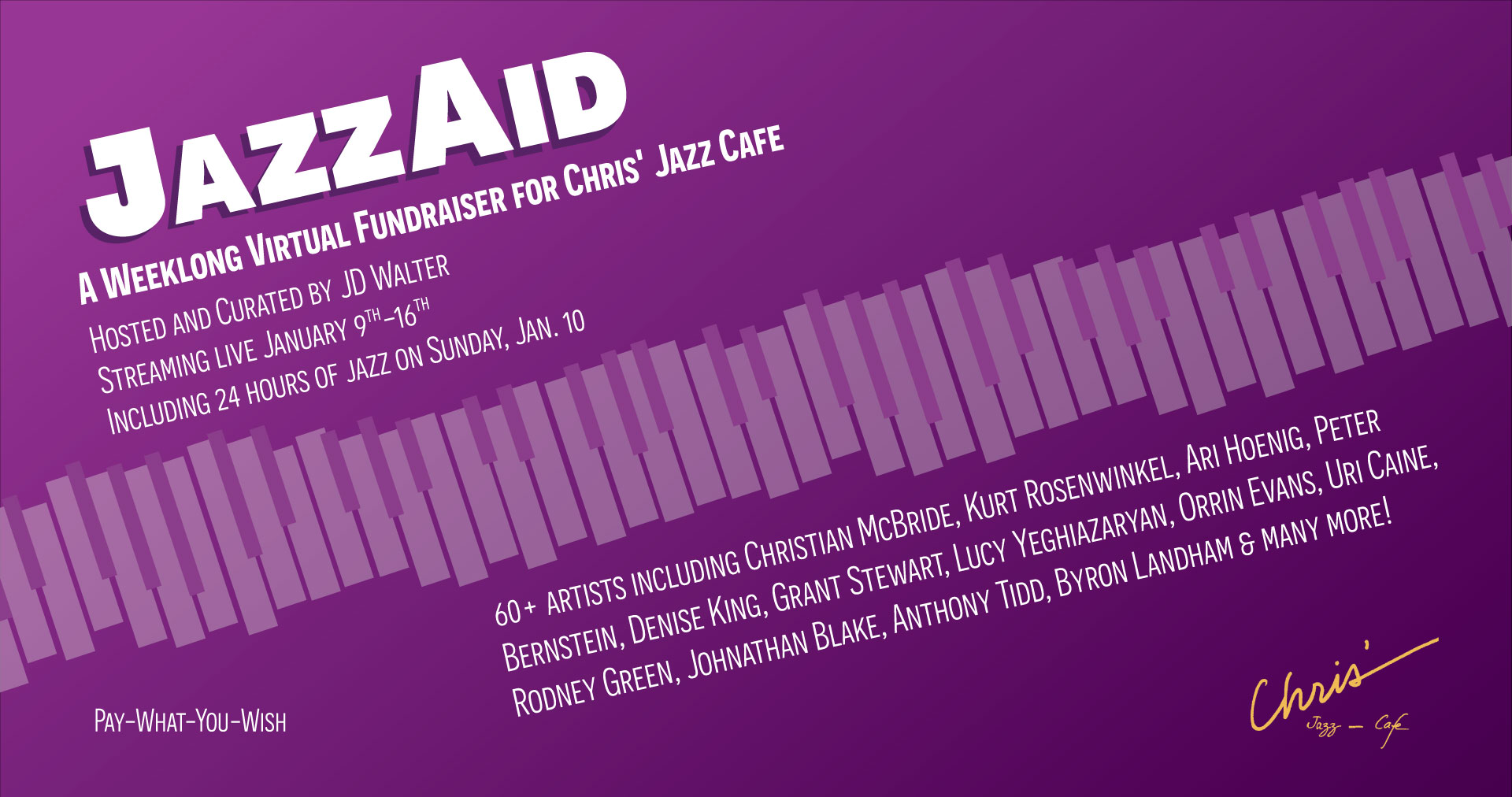 JazzAid - a weeklong virtual fundraiser for Chris' Jazz Cafe