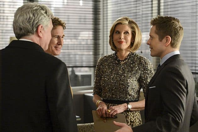 Cary (Matt Czuchry, right) and Diane (Christine Baranski) are surprised when Cary's father, Jeffrey (John Shea, left) shows up in Chicago