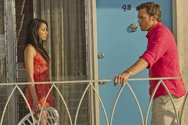 Aimee Garcia as Jamie Batista and Michael C. Hall as Dexter Morgan in Dexter