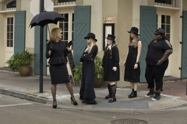 Jessica Lange as Fiona, Emma Roberts as Madison, Jamie Brewer as Nan, Taissa Farmiga as Zoe, Gabourey Sidibe as Queenie American Horror Story Coven