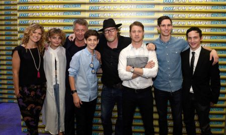 FOX FANFARE AT SAN DIEGO COMIC-CON © 2015: L-R: GOTHAM cast members Erin Richards, Camren Bicondova, Sean Pertwee, David Mazouz, Donal Logue, Ben McKenzie, Cory Michael Smith, and Robin Lord Taylor during the GOTHAM booth signing on Saturday, July 11 at the FOX FANFARE AT SAN DIEGO COMIC-CON © 2015. CR: Alan Hess/FOX © 2015 FOX BROADCASTING.