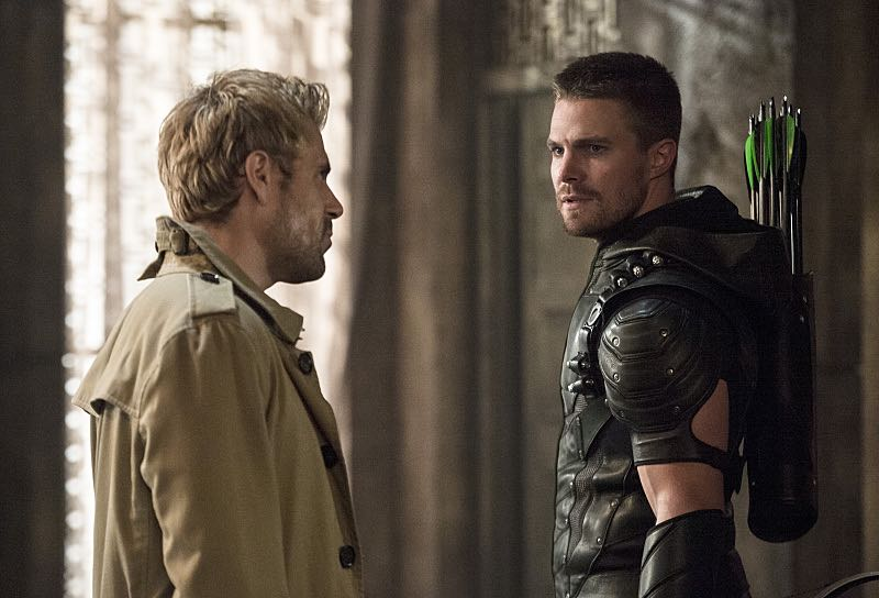 """Arrow -- """"Haunted""""(L-R): Matt Ryan as Constantine and Stephen Amell as The Arrow -- Photo: Cate Cameron/ The CW"""