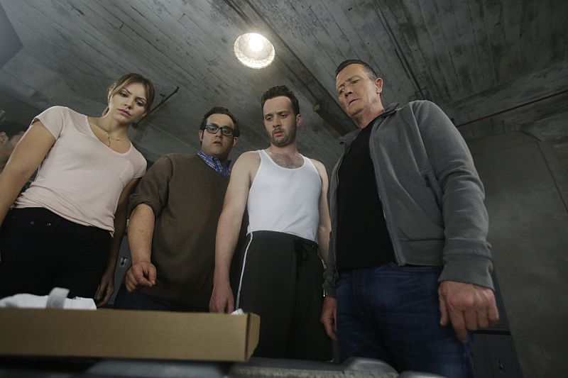 """""""Crazy Train"""" -- Team Scorpion must stop a sabotaged runaway subway train with Paige and Ralph on board. Also, in his attempt to impress Happy, Toby has his first boxing match, on SCORPION, Monday, Nov. 2 (9:00-9:59 PM, ET/PT) on the CBS Television Network. Pictured: Katharine McPhee as Paige Dineen, Ari Stidham as Sylvester Dodd, Eddie Kaye Thomas as Toby Curtis, Robert Patrick as Agent Cabe Gallo. Photo: Sonja Flemming/CBS ©2015 CBS Broadcasting, Inc. All Rights Reserved"""