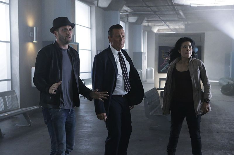 """""""Crazy Train"""" -- Team Scorpion must stop a sabotaged runaway subway train with Paige and Ralph on board. Also, in his attempt to impress Happy, Toby has his first boxing match, on SCORPION, Monday, Nov. 2 (9:00-9:59 PM, ET/PT) on the CBS Television Network. Pictured: Eddie Kaye Thomas as Toby Curtis, Robert Patrick as Agent Cabe Gallo, Jadyn Wong as Happy Quinn. Photo: Sonja Flemming/CBS ©2015 CBS Broadcasting, Inc. All Rights Reserved"""