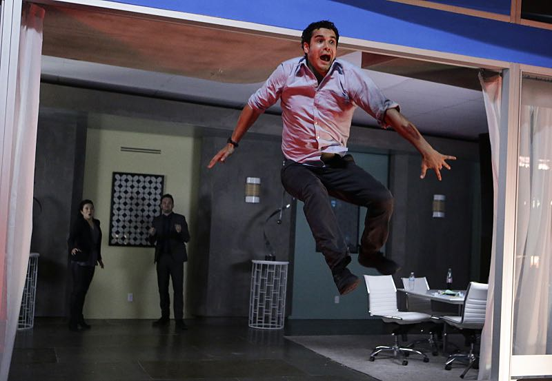 """Tech, Drugs, and Rock 'n Roll"" -- Walter's attempt to 'normalize' goes horribly wrong when a nefarious virus is loaded onto his computer, turning Team Scorpion's new 'smart' building project into a burning death trap with people locked inside, on a special 90 minute episode of SCORPION, Monday October 26 (9:30-11:00 PM, ET/PT) on the CBS Television Network. Pictured: Elyes Gabel as Walter O'Brien. Photo: Sonja Flemming/CBS ©2015 CBS Broadcasting, Inc. All Rights Reserved"