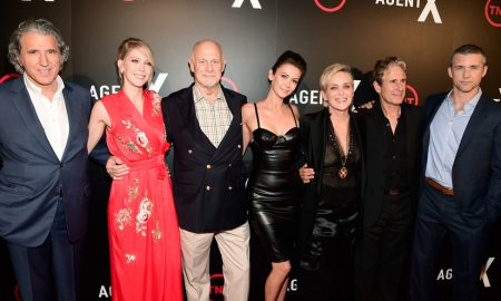 """WEST HOLLYWOOD, CA - OCTOBER 20: (L-R) Executive Producer Armyan Bernstein, actors Carolyn Stotesbery, Gerald McRaney, Sharon Stone, John Shea and Jeff Hephner attend TNT's """"Agent X"""" screening at The London West Hollywood on October 20, 2015 in West Hollywood, California. 25769_001 (Photo by Frazer Harrison/Getty Images for TNT)"""
