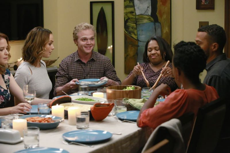 "GREY'S ANATOMY - ""Guess Who's Coming to Dinner?"" - In the midst of the sisters' dinner party, Maggie ditches her cooking duties to rush to the hospital. Meanwhile, April steps in to help cook as an attempt to avoid Jackson, and Arizona nervously waits to find out more about Callie's new girlfriend, on ""Grey's Anatomy,"" THURSDAY, OCTOBER 22 (8:00-9:00 p.m., ET) on the ABC Television Network. (ABC/Mitchell Haaseth) SARAH DREW, CAMILLA LUDDINGTON, JOE ADLER, CHANDRA WILSON, JERRIKA HINTON, JESSE WILLIAMS"