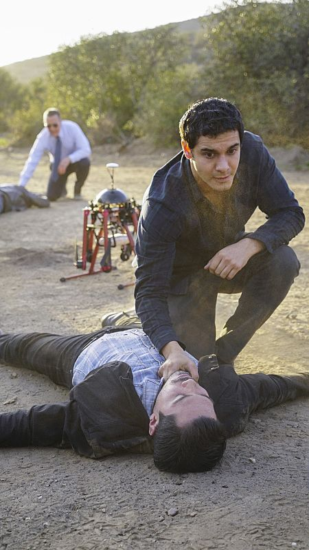 """""""Adaptation"""" -- While Team Scorpion works to stop an influx of drugs being smuggled into the country via drones, Walter gives Happy and Toby an ultimatum on their new relationship, on SCORPION, Monday, Feb. 22 (9:00-9:59 PM, ET/PT) on the CBS Television Network. Pictured: Elyes Gabel as Walter O'Brien, Robert Patrick as Agent Cabe Gallo. Photo: Monty Brinton/CBS ©2016 CBS Broadcasting, Inc. All Rights Reserved"""