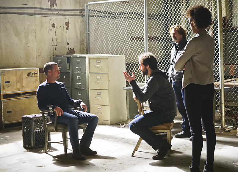 """""""Head of the Snake"""" -- Pictured: Chris O'Donnell (Special Agent G. Callen), Peter Cambor (Operational Psychologist Nate Getz) and Judith Shekoni (Alisa Chambers). After Operational Psychologist Nate Getz (Peter Cambor) fails to check in with Hetty while working undercover on a mission linking organized crime to terrorism, the team learns he is working with an infamous crime leader, on NCIS: LOS ANGELES, Monday, April 11 (9:59-11:00, ET/PT), on the CBS Television Network. Photo: Monty Brinton/CBS ©2016 CBS Broadcasting, Inc. All Rights Reserved."""