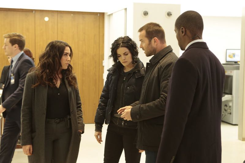 "BLINDSPOT -- ""Any Wounded Thief"" Episode 116 -- Pictured: (l-r) Audrey Esparza as Tasha Zapata, Jaimie Alexander as Jane Doe, Sullivan Stapleton as Kurt Weller -- (Photo by: Giovanni Rufino/NBC)"