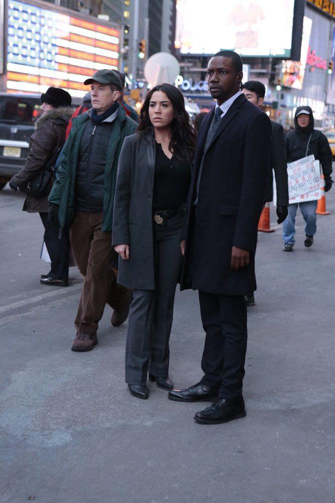 "BLINDSPOT -- ""Any Wounded Thief"" Episode 116 -- Pictured: (l-r) Audrey Esparza as Tasha Zapata, Rob Brown as Edgar Reed -- (Photo by: Giovanni Rufino/NBC)"