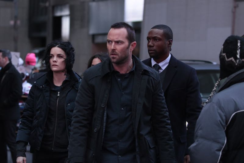 "BLINDSPOT -- ""Any Wounded Thief"" Episode 116 -- Pictured: (l-r) Jaimie Alexander as Jane Doe, Sullivan Stapleton as Kurt Weller, Rob Brown as Edgar Reed -- (Photo by: Giovanni Rufino/NBC)"