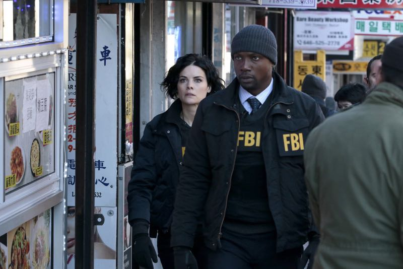 "BLINDSPOT -- ""Any Wounded Thief"" Episode 116 -- Pictured: (l-r) Jaimie Alexander as Jane Doe, Rob Brown as Edgar Reed -- (Photo by: Giovanni Rufino/NBC)"