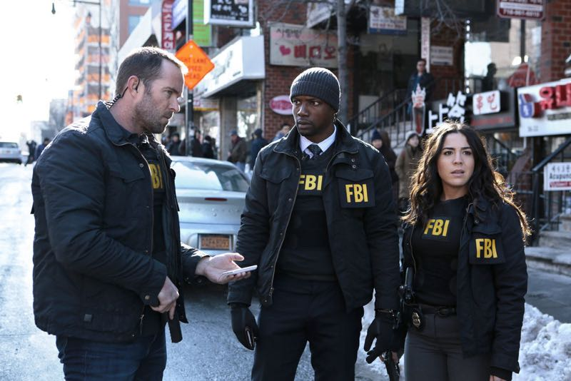 "BLINDSPOT -- ""Any Wounded Thief"" Episode 116 -- Pictured: (l-r) Sullivan Stapleton as Kurt Weller, Rob Brown as Edgar Reed, Audrey Esparza as Tasha Zapata -- (Photo by: Giovanni Rufino/NBC)"
