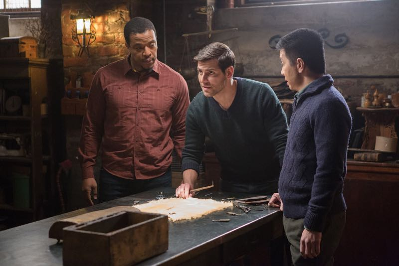 """GRIMM -- """"Silence of the Slams"""" Episode 513 -- Pictured: (l-r) Russell Hornsby as Hank Griffin, David Giuntoli as Nick Burkhardt, Reggie Lee as Sergeant Wu -- (Photo by: Scott Green/NBC)"""