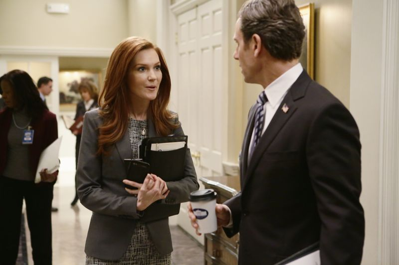 """SCANDAL - """"The Fish Rots From the Head"""" - Olivia and the team take on some embattled Secret Service agents. Meanwhile, Abby has her hands full trying to keep Fitz in line, and Jake begins to reveal a few secrets of his own, on an all-new """"Scandal,"""" THURSDAY MARCH 10 (9:00-10:00 p.m. EST) on the ABC Television Network. (ABC/Nicole Wilder) DARBY STANCHFIELD, TONY GOLDWYN"""