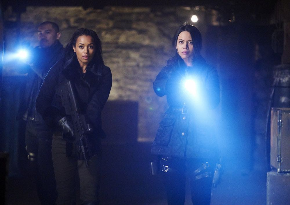 """DARK MATTER -- """"We Voted Not to Space You"""" Episode 205 -- Pictured: (l-r) Alex Mallari, Jr. as Four, Melanie Liburd as Nyx, Melissa O'Neil as Two -- (Photo by: Steve Wilkie/Prodigy Pictures/Syfy)"""