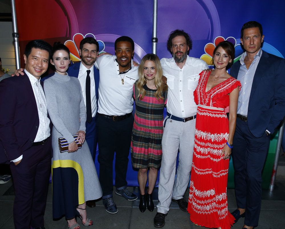 "COMIC-CON INTERNATIONAL: SAN DIEGO 2016 -- 7th Annual NBC @ Comic-Con Party -- Pictured: (l-r) Reggie Lee, Bitsie Tulloch, David Giuntoli, Russell Hornsby, Claire Coffee, Silas Weir Mitchell, Bree Turner, Sasha Roiz, ""Grimm"" at the Andaz, San Diego, Calif., Saturday, July 23, 2016 -- (Photo by: Mark Davis/NBC)"