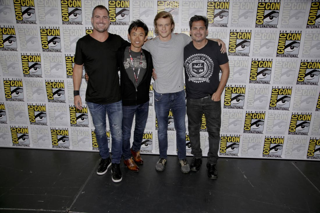 George Eads, James Wan, Executive Producer, Lucas Till, and Peter Lenkov, Executive Producer of the CBS series MACGYVER during the panel discussion at COMIC-CON® 2016 in San Diego, California.