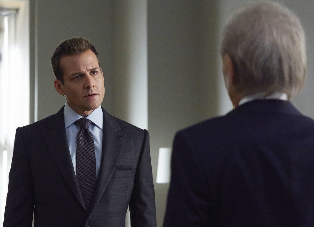 "SUITS -- ""Borrowed Time"" Episode 608 -- Pictured: Gabriel Macht as Harvey Specter -- (Photo by: Shane Mahood/USA Network)"