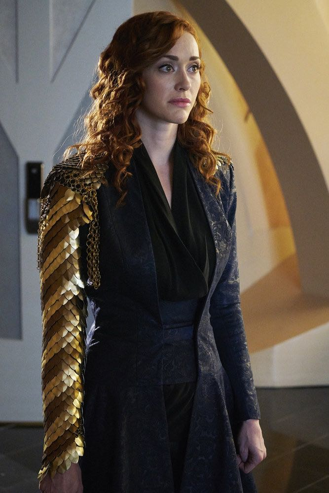 """KILLJOYS -- """"Full Metal Monk"""" Episode 208 -- Pictured: Sarah Power as Pawter -- (Photo by: Steve Wilkie/Syfy/Killjoys II Productions Limited)"""