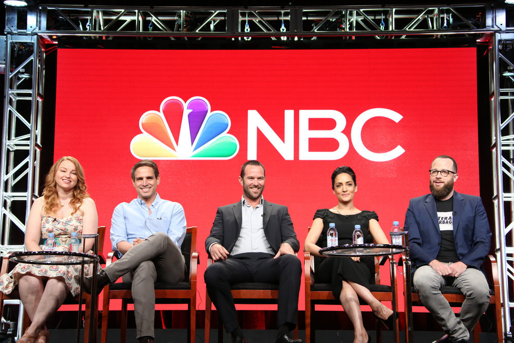 "NBCUNIVERSAL EVENTS -- NBCUniversal Summer Press Tour, August 2, 2016 -- NBC's ""Blindspot"" Panel -- Pictured: (l-r) Sarah Schechter, Executive Producer, Greg Berlanti, Executive Producer, Sullivan Stapleton, Archie Panjabi, Martin Gero, Executive Producer -- (Photo by: Evans Vestal Ward/NBCUniversal)"
