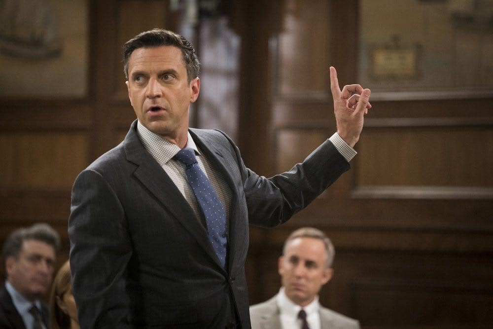 "LAW & ORDER: SPECIAL VICTIMS UNIT  -- ""Imposter"" Episode 1803 -- Pictured: Raul Esparza as A.D.A. Rafael Barba -- (Photo by: Michael Parmelee/NBC)"