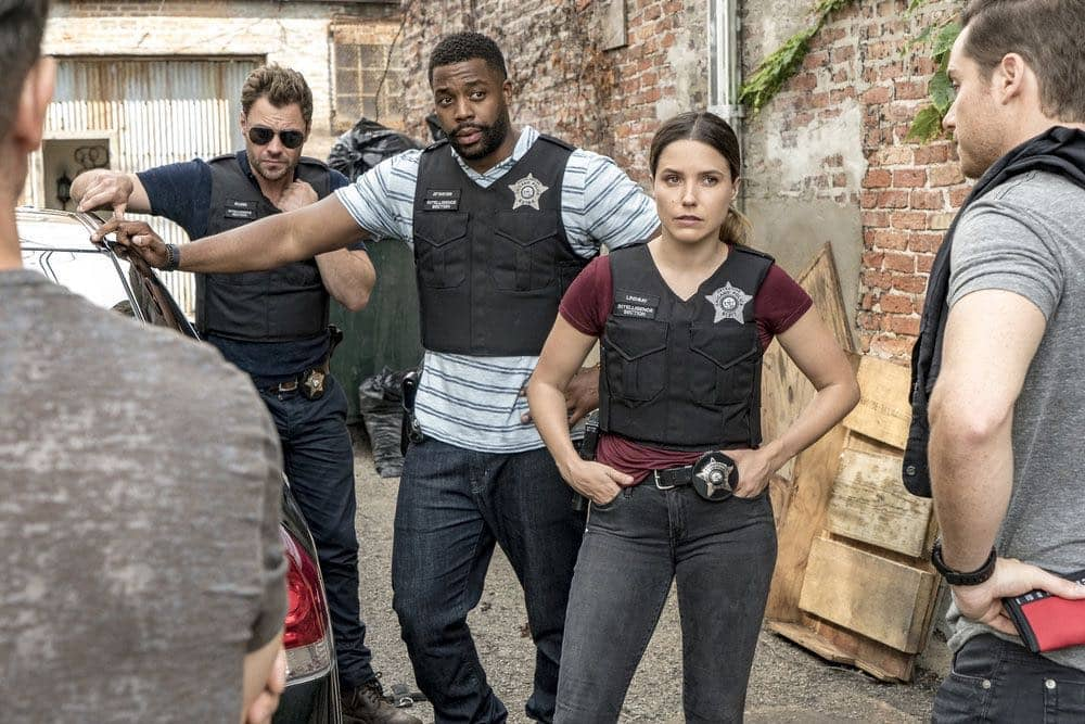 "CHICAGO P.D. -- ""Big Friends Big Enemies"" Episode 403 -- Pictured: (l-r) Patrick Flueger as Kyle Ruzek, LaRoyce Hawkins as Kevin Atwater, Sophia Bush as Erin Lindsay -- (Photo by: Matt Dinerstein/NBC)"