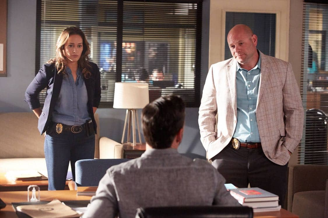 "ROSEWOOD: Pictured L-R: Jaina Lee Ortiz, Eddie Cibria and Domenick Lombardozzi in the ""Secrets and Silent Killers"" episode of ROSEWOOD airing Thursday, Sept. 29 (8:-00-8:50 PM ET/PT) on FOX. ©2016 Fox Broadcasting Co. CR: Tyler Golden/FOX"