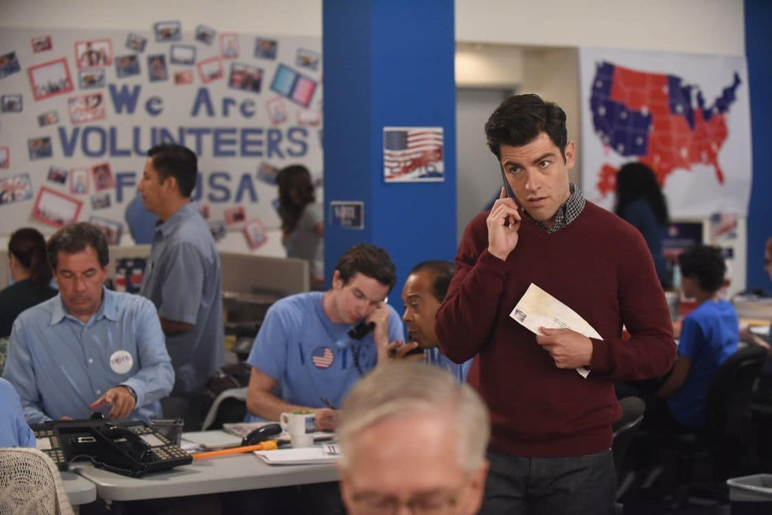 "NEW GIRL:   Max Greenfield (R) in the ""Hubbedy Bubby"" episode of NEW GIRL airing Tuesday, Sept. 27 (8:30-9:00 PM ET/PT) on FOX.  ©2016 Fox Broadcasting Co.  Cr:  Ray Mickshaw/FOX"