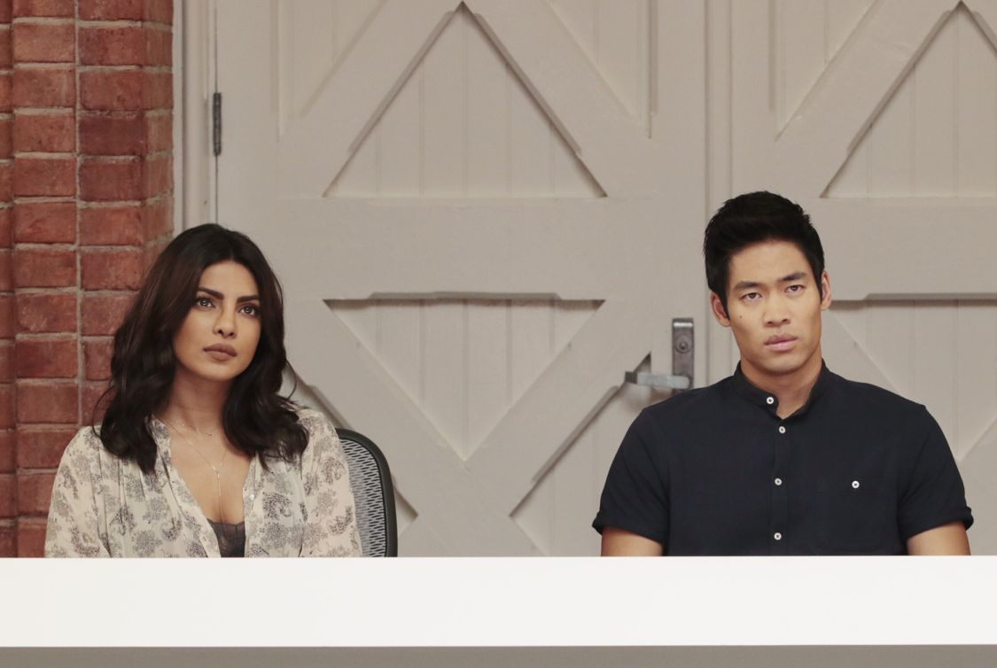 "QUANTICO - ""Lipstick"" - The new CIA recruits begin running counter-surveillance exercises at The Farm while Alex and Ryan navigate their new relationship with each other. In the future, Ryan and Raina try to disrupt the terrorists' plan to blend in with hostages while trust becomes a deadly weapon, as not everyone is who they seem to be, on ""Quantico,"" airing SUNDAY, OCTOBER 2 (10:00-11:00 p.m. EDT), on the ABC Television Network. (ABC/Giovanni Rufino) PRIYANKA CHOPRA, DAVID LIM"
