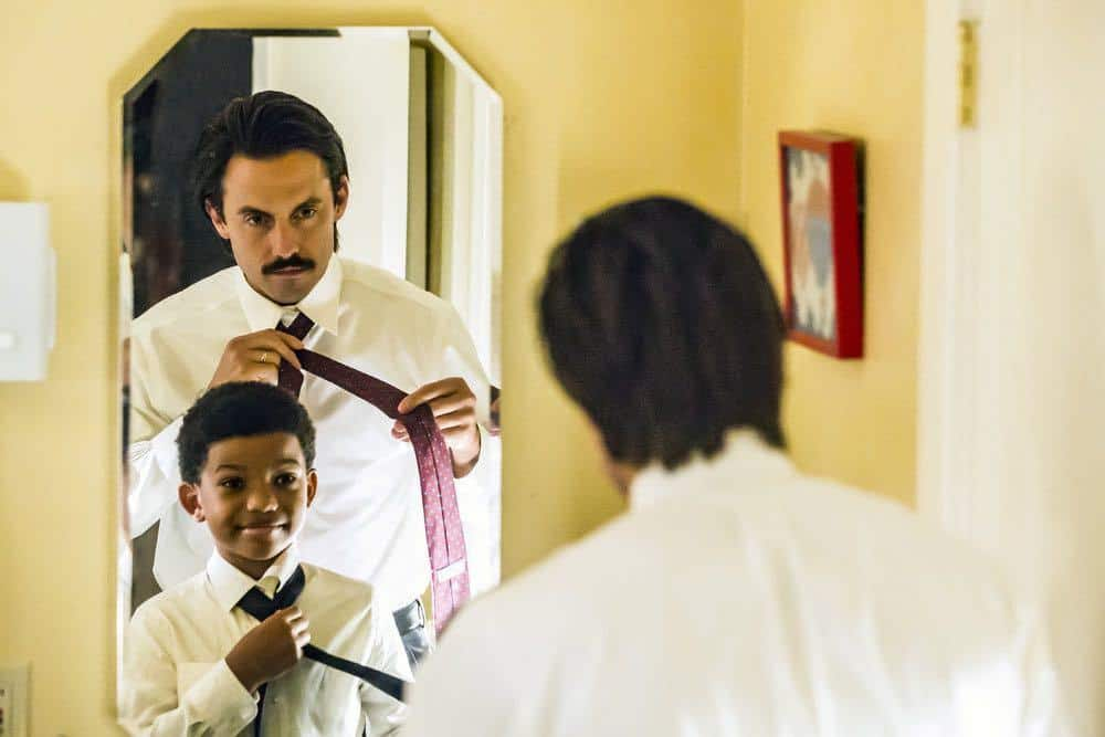"""THIS IS US -- """"Career Days"""" Episode 106 -- Pictured: (l-r) Lonnie Chavis as Randall, Milo Ventimiglia as Jack -- (Photo by: Ron Batzdorff/NBC)"""