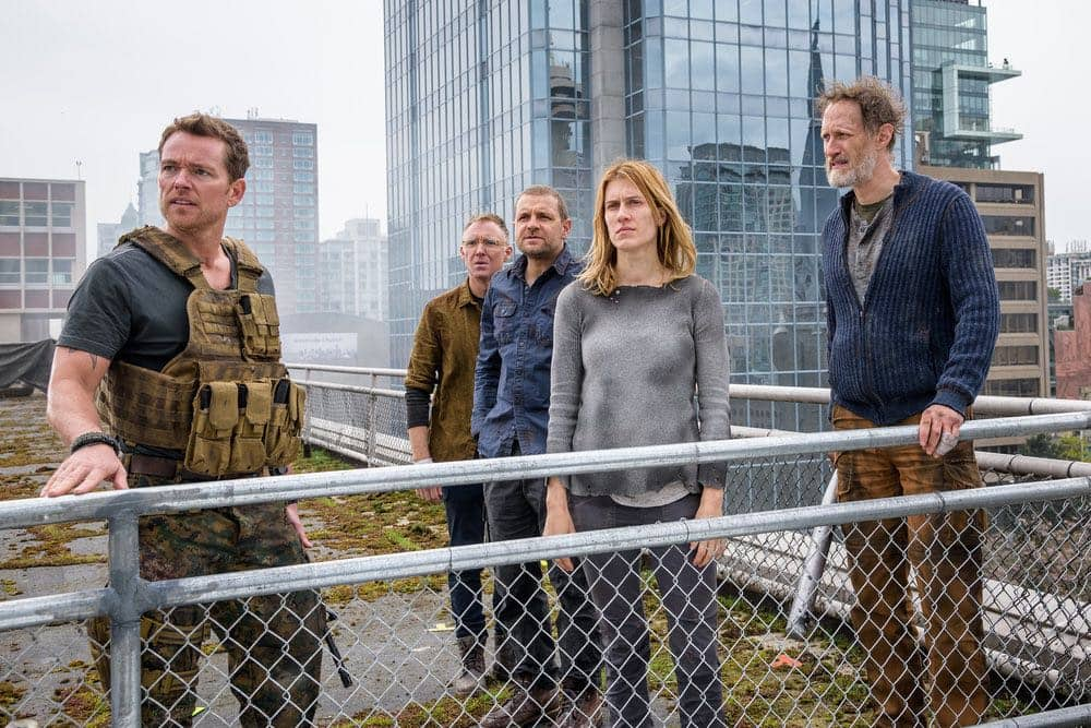"VAN HELSING -- ""For Me"" Episode 107 -- Pictured: (l-r) Jonathan Scarfe as Axel Miller, Vincent Gale as Flesh, David Cubitt as John, Alison Wazendura as Nicole, Christopher Heyerdahl as Sam -- (Photo by: Dan Power/Helsing S1 Productions/Syfy)"