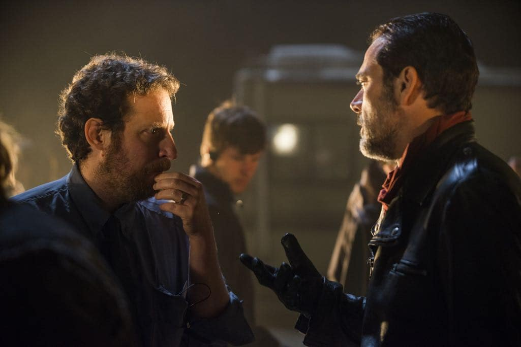>>> NOT TO BE USED UNTIL 10/24/16 at 1:00 AM EST <<< BTS, Executive Producer Scott Gimple, Jeffrey Dean Morgan as Negan - The Walking Dead _ Season 7, Episode 1 - Photo Credit: Gene Page/AMC
