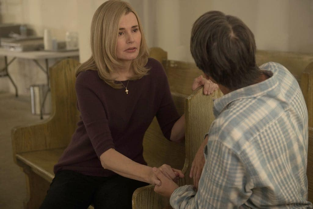 "THE EXORCIST: L-R: Geena Davis and Alan Ruck in the ""Chapter Six: Star of the Morning"" episode of THE EXORCIST airing Friday, Nov. 4 (9:01-10:00 PM ET/PT) on FOX. ©2016 Fox Broadcasting Co. Cr: Jean Whiteside/FOX"