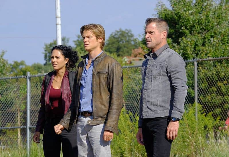 """""""Wrench"""" -- Using only a wrench and rope, MacGyver must diffuse a bomb set near the United Nations by his old nemesis, """"The Ghost"""" (Niko Nicotera), a notorious criminal whose work killed his mentor, and track him down before he strikes again, on MACGYVER, Friday, Oct. 28 (8:00-9:00 PM, ET/PT) on the CBS Television Network. Pictured: Tristin Mays, Lucas Till, George Eads. Photo: Guy D'Alema/CBS ©2016 CBS Broadcasting, Inc. All Rights Reserved"""