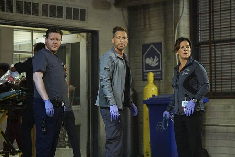 """""""Demons and Angels"""" -- On Halloween night, Willis, Noa and Elliott rush to the scene of a fire at a haunted theater, where Dr. Nolan (Kathleen Rose Perkins) and her boyfriend's son are trapped, on CODE BLACK, Wednesday, Oct. 26 (10:00-11:00 PM, ET/PT), on the CBS Television Network.  Pictured: Harry Ford (Dr. Angus Leighton), Rob Lowe (Col. Ethan Willis), Marcia Gay Harden (Dr. Leanne Rorish)   Photo: Monty Brinton/CBS ©2016 CBS Broadcasting, Inc. All Rights Reserved"""