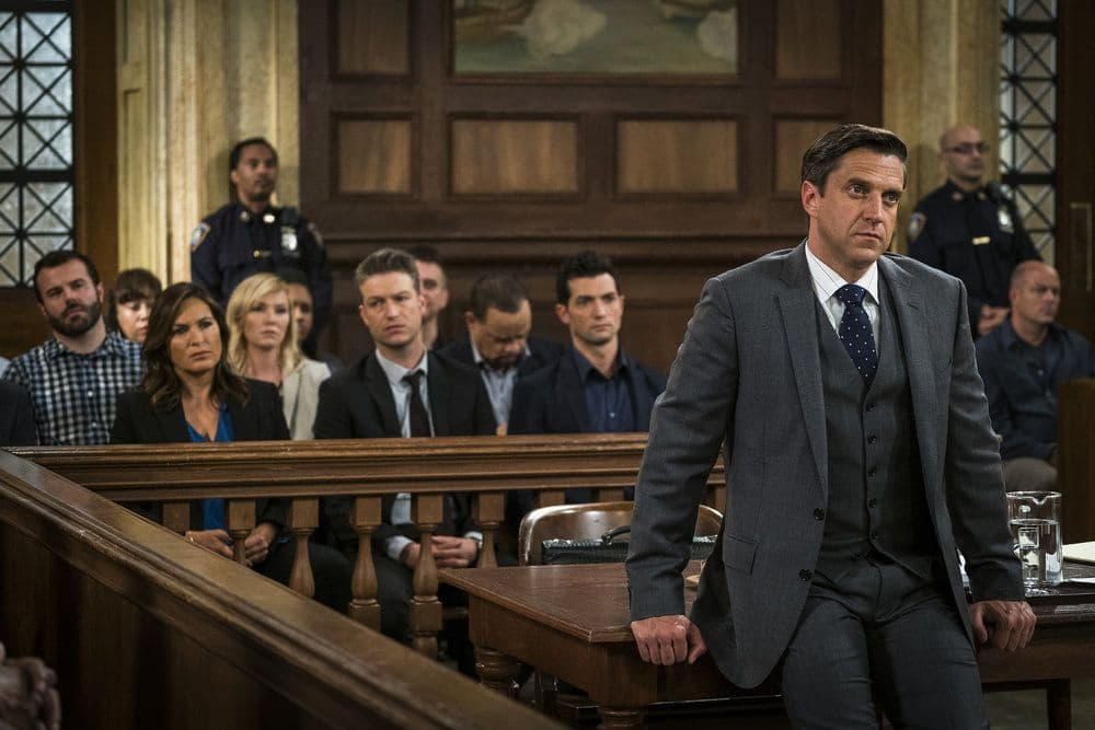"LAW & ORDER: SPECIAL VICTIMS UNIT -- ""Heightened Emotions"" Episode 1805 -- Pictured: Raúl Esparza as Rafael Barba -- (Photo by: Michael Parmelee/NBC)"