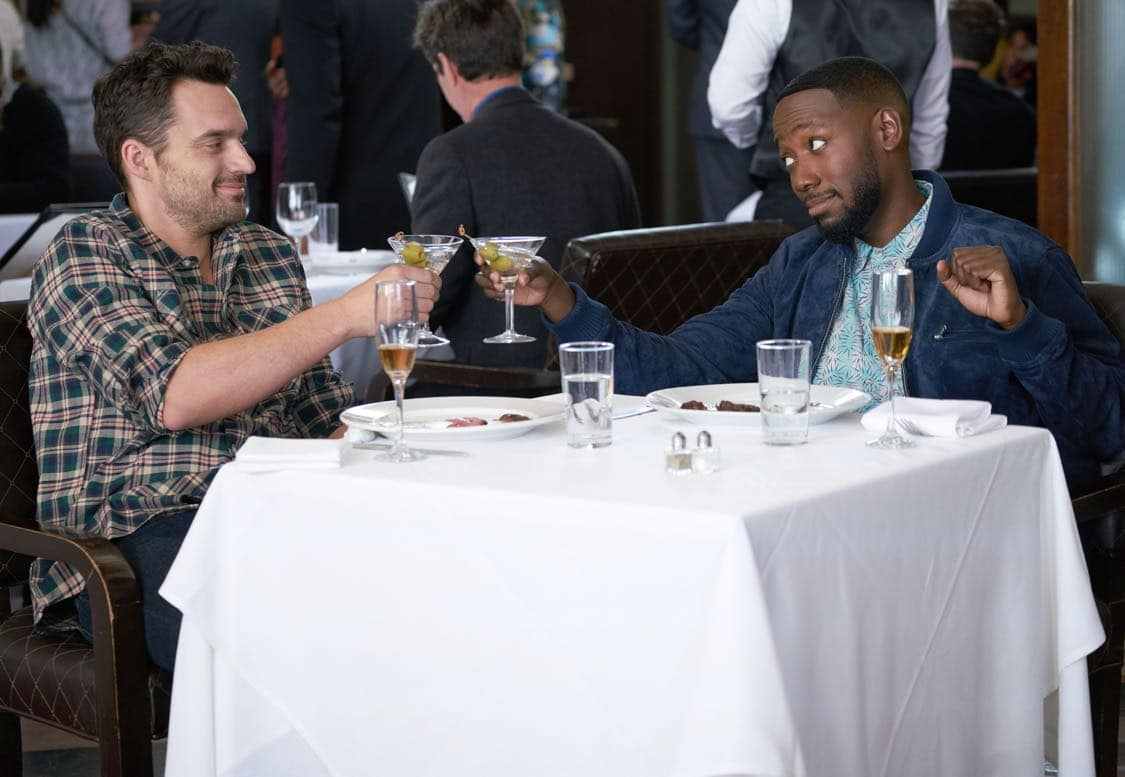"""NEW GIRL:  L-R:  Lamorne Morris and Jake Johnson in the special """"Homecoming"""" NEW GIRL/BROOKLYN NINE-NINE crossover episode of NEW GIRL airing Tuesday, Oct. 11 (8:31-9:01 PM ET/PT) on FOX. ©2015 Fox Broadcasting Co. Cr:  Adam Taylor/FOX"""
